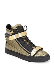 Giuseppe Zanotti Double Embossed Leather Sneakers Gold