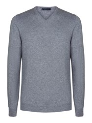 Aquascutum London Men's Lyndon V Neck Cashmere Knit Grey
