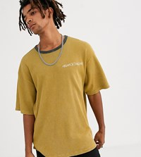 Heart And Dagger Waffle T Shirt In Camel With Logo Tan