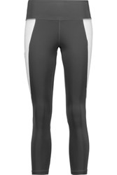 Purity Active Cropped Two Tone Mesh Trimmed Stretch Leggings Gray