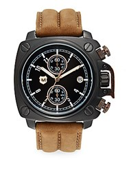Andrew Marc New York Black Ip Stainless Steel Square And Leather Chronograph Watch Black Tan