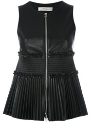 Cedric Charlier Sleeveless And Pleated Top Women Polyester 40 Black