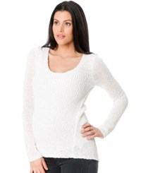 A Pea In The Pod Long Sleeve Pointelle Knit Sweater White