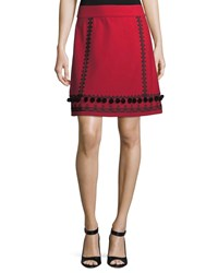 Kate Spade Pompom Embroidered A Line Skirt Charm Red