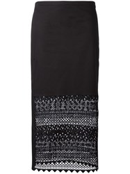 N 21 No21 Macrame Detail Straight Skirt Black