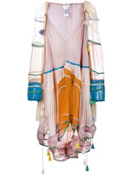 Chloe V Neck Peasant Dress Nude And Neutrals