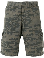 Woolrich Camouflage Print Cargo Shorts Green