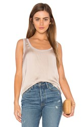 Enza Costa Satin Scoop Neck Tank Beige