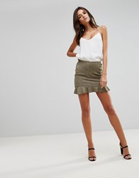 Ax Paris Khaki Suede Frill Hem Mini Skirt Green