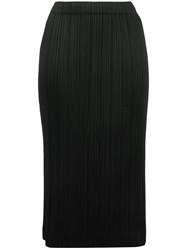 Issey Miyake Pleats Please By Micro Pleated Pencil Skirt Black