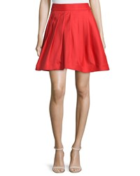 Halston Heritage Flared Mini Skirt W Pleats Vermillion
