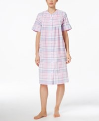 Miss Elaine Short Embroidered Trim Plaid Robe Pink Navy Plaid