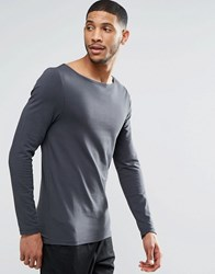 Asos Muscle Long Sleeve T Shirt With Boat Neck In Washed Black Washed Black