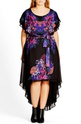 City Chic Plus Size Women's 'Dream Catcher' Belted Floral Print High Low Dress