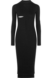 Joseph Bethany Ribbed Knit Midi Dress Black