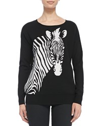 Christopher Fischer Wool Intarsia Knit Zebra Sweater Black White