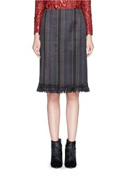 Dries Van Noten 'Scranton' Fringe Hem Pinstripe Brocade Pencil Skirt Purple