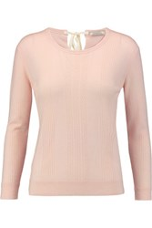 Nina Ricci Pointelle Knit Wool Sweater Pastel Pink