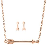 Earthy Chic Boutique Mini Arrow Necklace And Earring Set 14K Rose Gold Plated
