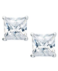 B. Brilliant Sterling Silver Earrings Square Cubic Zirconia Studs 1 1 2 Ct. T.W.