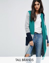 Noisy May Tall Color Block Knitted Cardigan Multi