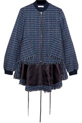 Adeam Fringed Tweed Bomber Jacket Navy