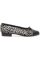 French Sole Printed Calf Hair And Patent Leather Ballet Flats Leopard Print