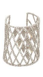 Alexis Bittar Crystal Spiked Lattice Cuff Bracelet Silver Gold