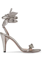 Chloe Mike Metallic Cracked Leather Sandals Silver
