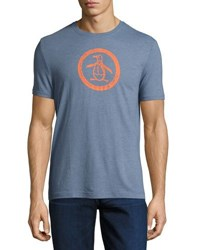 Penguin Tri Blend Distressed Logo Tee Blue