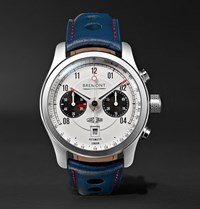 Bremont Mkii Jaguar 43Mm Stainless Steel And Leather Watch Midnight Blue