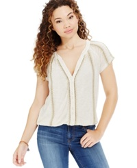 American Rag Crochet Trim Button Front Tee Only At Macy's Oatmeal