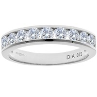 Diamond Collection 18Ct White Gold Round Brilliant Channel Set Eternity Ring 0.75Ct