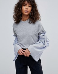 Neon Rose Jersey T Shirt Contrast Stripe Fluted Sleeve Grey