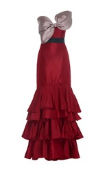 Johanna Ortiz La Viajera Silk Taffeta Dress Red