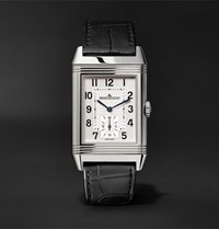 Jaeger Lecoultre Reverso Classic Large Duoface 28Mm Stainless Steel And Leather Watch Black