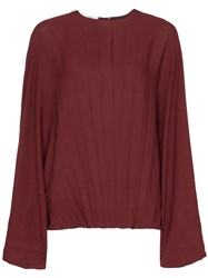 Valentino Batwing Sleeve Pleated Blouse Red