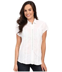 Scully Honey Creek Lace Cap Sleeve Top W Flirty Snap Front White Women's Clothing