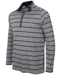 Greg Norman For Tasso Elba Striped Quarter Zip Shirt Only At Macy's Grey Heather