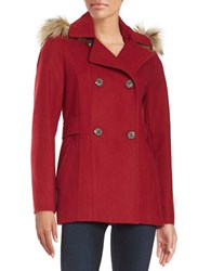 Nautica Faux Fur Trimmed Peacoat