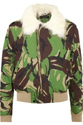 Rag And Bone Shearling Trimmed Camouflage Print Cotton Canvas Bomber Jacket Green