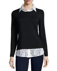 Neiman Marcus Twofer Knit And Lace Top Black White