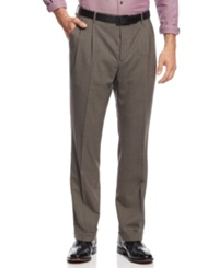 Nautica Pleated Houndstooth Checked Pants Tan