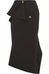 Victoria Beckham Draped Stretch Wool Midi Skirt Black
