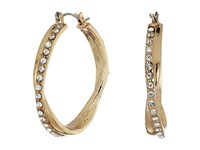 Guess Stone Snap Hoops Earrings Gold Crystal Earring