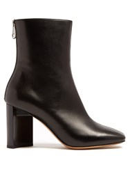 Maison Martin Margiela Cut Out Block Heel Leather Ankle Boots Black