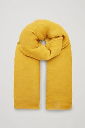 Cos Pleated Wool Scarf Yellow