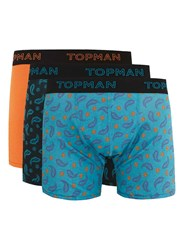 Topman Multi Orange Paisley Trunks 3 Pack