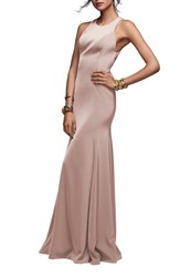 Watters Coralie Lace Back Gown Blush