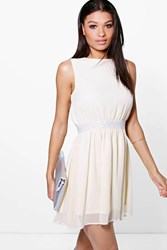 Boohoo Embellished Waist Chiffon Skater Dress Cream